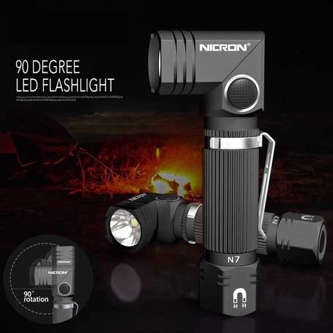Nicron™ N7 - 90° Hands-Free LED Tactical Flashlight - Indigo-Temple