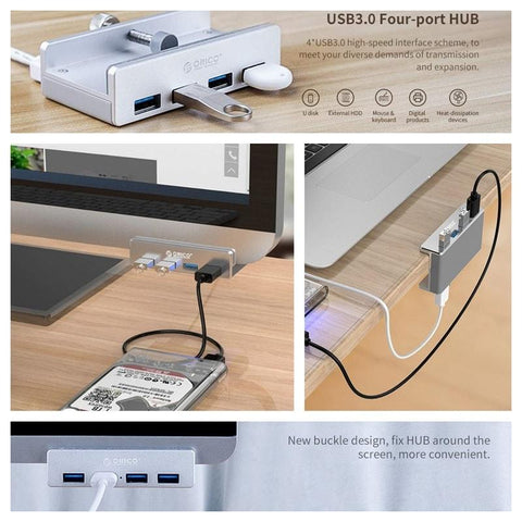 ORICO® Portable Clip-On 4-Port USB Hub - Indigo-Temple