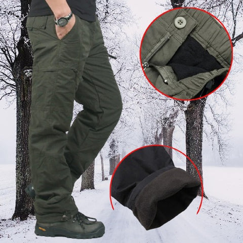 Double Layer Flannel Lined Cargo Pants