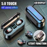 2 in 1 Bluetooth V5.0 Wireless Touch Control Earbuds With Power Bank Case - Indigo-Temple