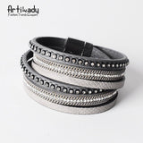 Multi-Layer Leather wrap bracelet - Indigo-Temple