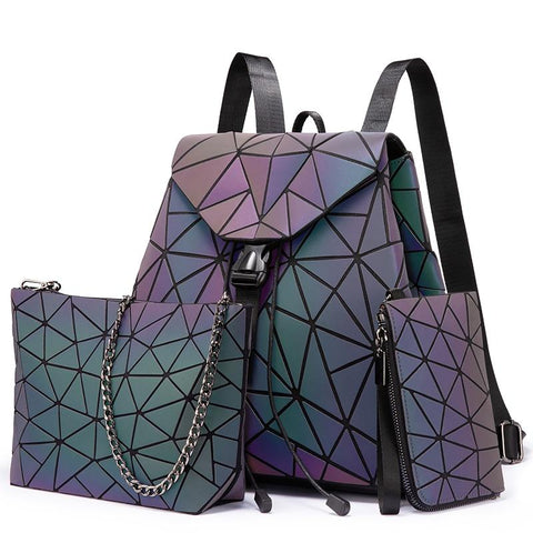 GEOMETRIC LUMINOUS BAG SET - Indigo-Temple