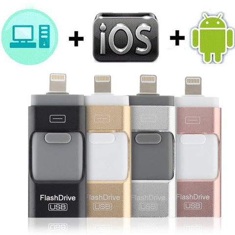 3 in 1 Mobile-Device Compatible USB Memory Stick /Android/iOS - Indigo-Temple