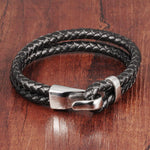 Duexes  -  Double Layer Black Leather Bracelet - Indigo-Temple