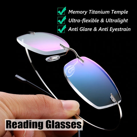 Memory Titanium Alloy Rimless Prescription Presbyopic Reading Glasses