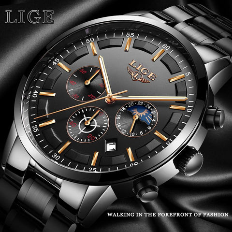 LIGE™ Black Obsidian Watch for Men