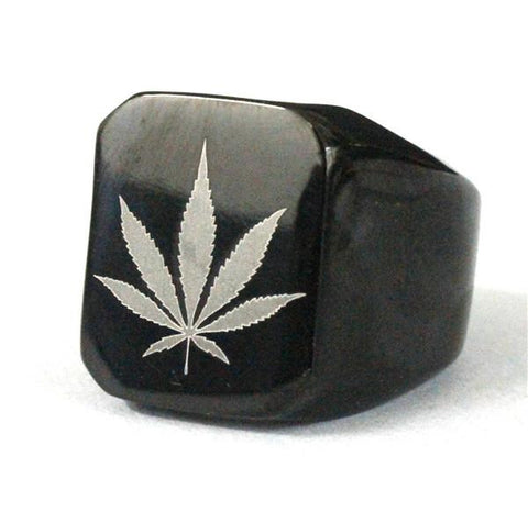 Cool Leaf Ring Black Polishing - Indigo-Temple