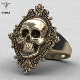 Goat -  Ancient Gold Plated Skull Ring - Indigo-Temple