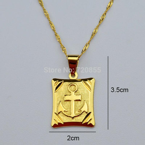 Cameron -Anchor Pendant & Necklaces ,18k Yellow Gold Plated - Indigo-Temple