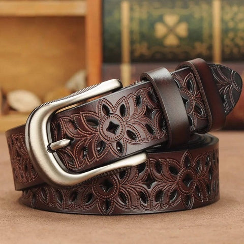 Carved Genuine Leather Belt for Women