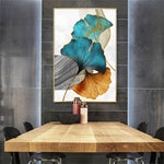 Green, Blue & Golden Ginkgo Biloba Leaves Canvas