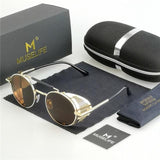 MUSELIFE™ Unisex Steampunk Round Metal Sunglasses