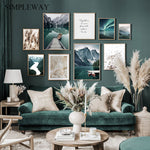 Scandinavian Travel Teal Landscape Canvas