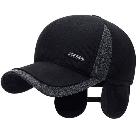 Winter Wool Baseball Cap with Ear Flaps