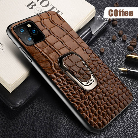Genuine Leather Magnetic Ring Stand Case for iPhone