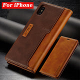 Luxurious Magnetic Leather iPhone Flip Case