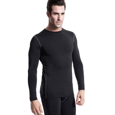 Men Plush Base Layer Long Sleeve Thermal T Shirt - Indigo-Temple