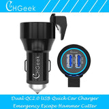 Fast Dual Car Charger With Escape Hammer & Belt Cutter - Indigo-Temple