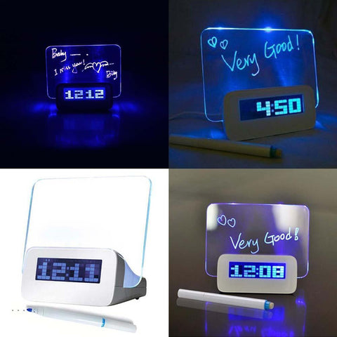 LED Message Board Alarm Clock - Indigo-Temple