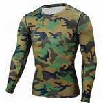 Military Quick Dry Camo Long Sleeve T-Shirt - Indigo-Temple