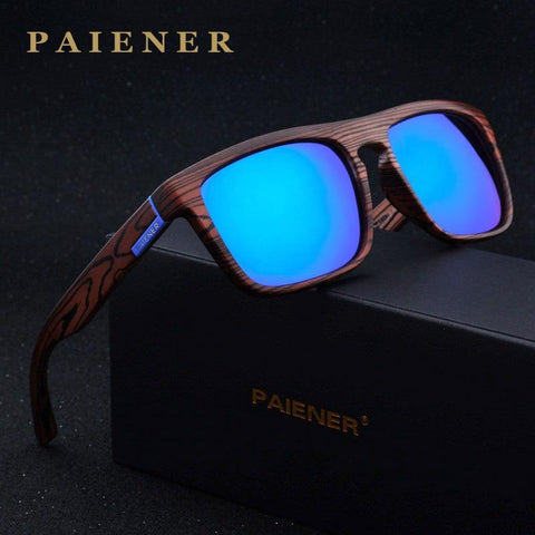 PAIENER™ Wood-Pattern Polarized Unisex Sunglasses - Indigo-Temple