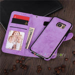 2-IN-1 PU-Leather Magnetic Phone Flip Case / Wallet - Indigo-Temple