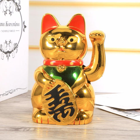 Waving Maneki-neko Cat - Indigo-Temple