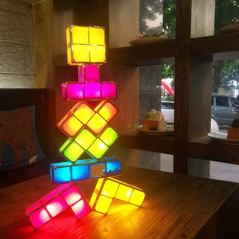 Creative Stackable Tetris Lamp - Indigo-Temple