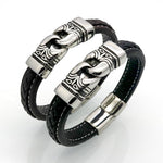 BAYZANT - Stainless Steel & Leather Charm Bracelet - Indigo-Temple