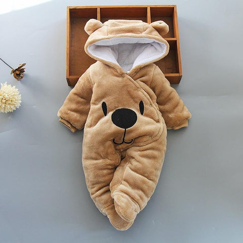 Winter Warm Teddy Bear Style Baby Romper - Indigo-Temple