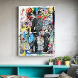 Street Graffiti Pop-Art Canvas - Indigo-Temple
