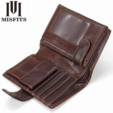 MISFITS™ Vintage Snap-Closure Genuine Leather Wallet - Indigo-Temple