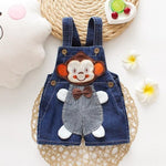 Baby Jeans Overall With Cute Animal Face - Indigo-Temple