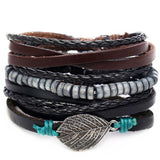 IF ME™ Vintage Multi-Layer Men's Leather Bracelet Sets - Indigo-Temple