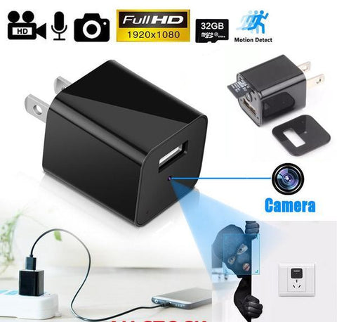 1080p HD USB Wall Charger Hidden Spy Camera - Indigo-Temple