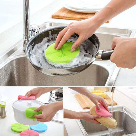 Multi-function Silicone Sponge Scrubber (3 pcs set) - Indigo-Temple