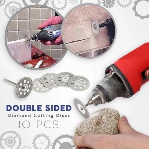 Ultra-Powerful Diamond Cutting Discs with 2X Connecting Shanks (10pcs set)