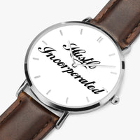 Hustle Inc 165.Ultra-Thin Leather Strap Quartz Watch (Silver With Indicators)
