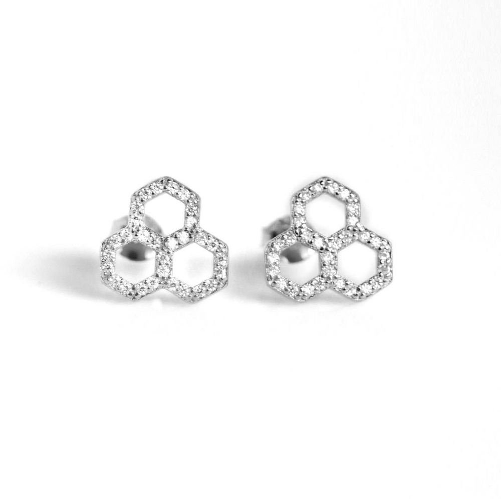 Load image into Gallery viewer, Honeycomb CZ Earrings