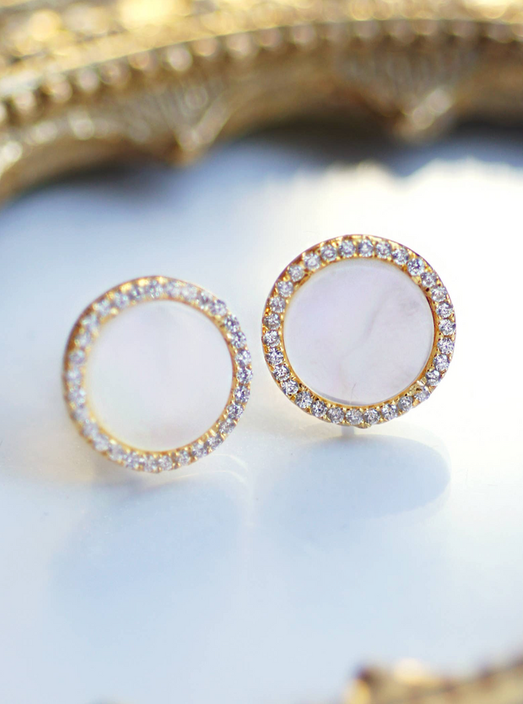 925 Mother of Pearl CZ Disc Studs