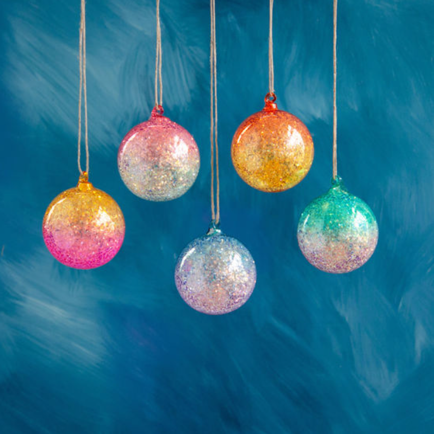 Iridescent Glitter Ball Ornament