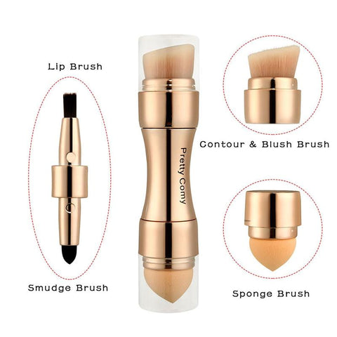 4 In 1 Makeup Brushes Foundation Eyebrow Shadow Eyeliner Blush Powder Brush Cosmetic Concealer