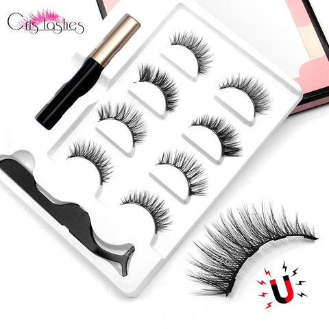 4 Pairs Magnetic Eyelashes Set With Liquid Eyeliner Tweezers Natural Handmade