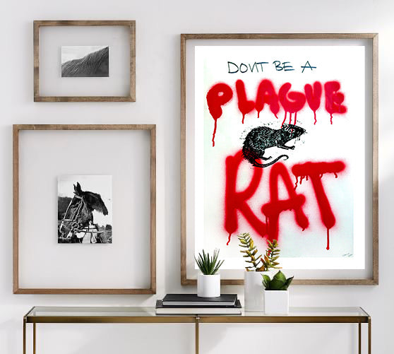 "Don't Be A Plague Rat: Hand Made Mixed Media Signed and Dated Prints on 18x24"" Acid Free Prints"