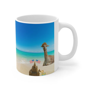 I was social distancing before it was cool llama mug at the beach.