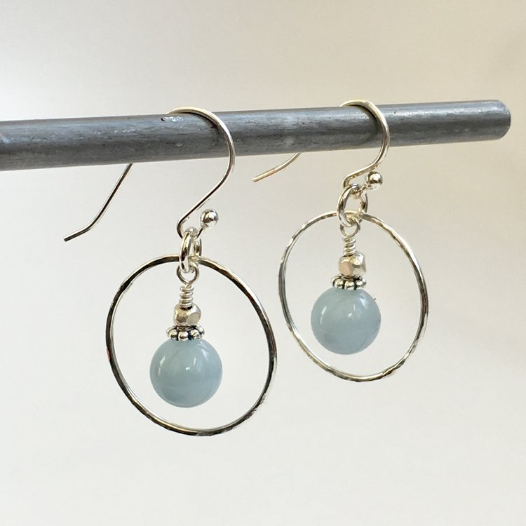 aquamarine floater earring