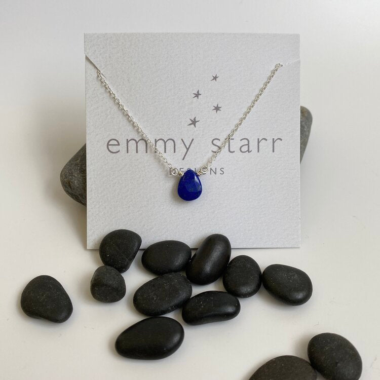 simple lapis on chain necklace