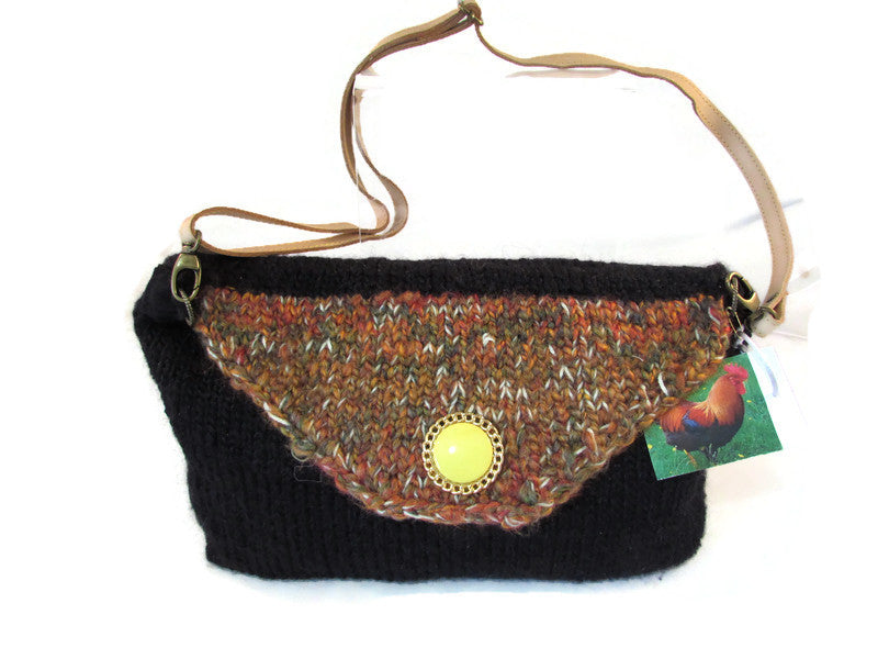 large knitted animal purse