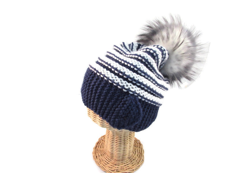 Blue & gray knitted pompom hat