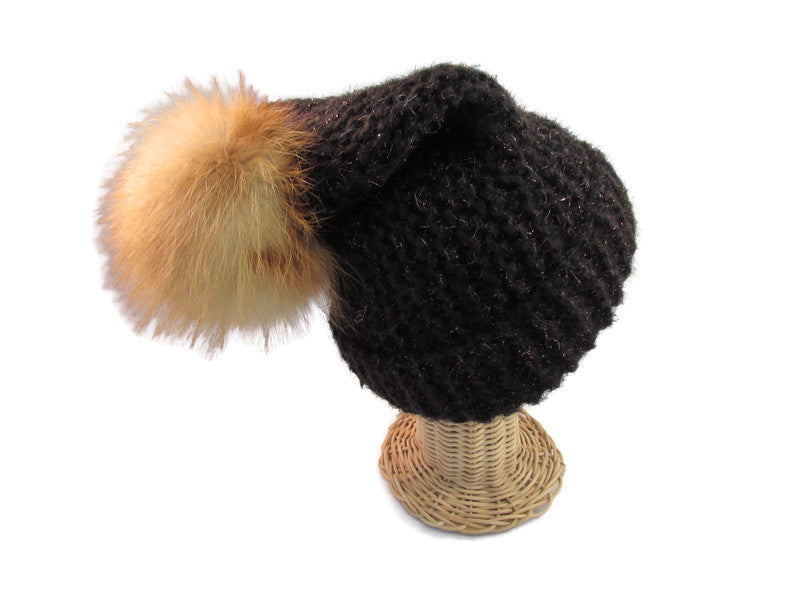 Brown pompom Knitted hat